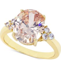 charter club gold-tone pave & oval crystal ring, created for macy's