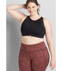 lane bryant women's livi low-impact no-wire wicking high-neck sport bra 22/24 black