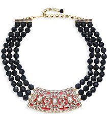 goldtone & crystal beaded collar necklace