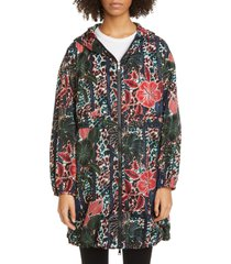 women's moncler floral print hooded jacket