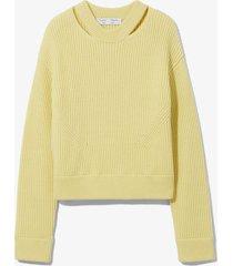 proenza schouler white label chunky rib knit sweater lemon/yellow l