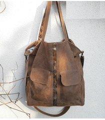 brązowa torba z kieszeniami, nubuk naturalny, xl