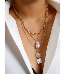 collar de perlas de oro colgante collar de varias capas