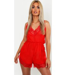 plus lace chiffon teddy, red