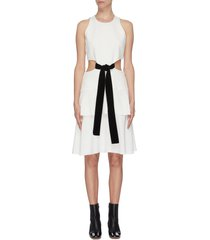 belted waist cutout flared sleeveless mini dress