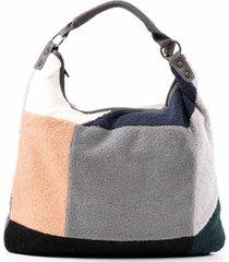 cartera patchwork lana gris mailea