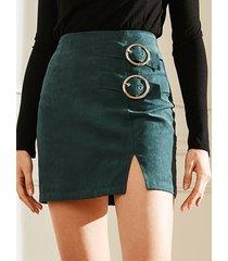 falda de talle alto con diseño de hendidura verde