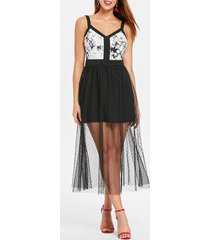 sleeveless mesh panel tea length dress