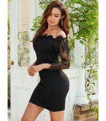 yoins black off the shoulder party vestido