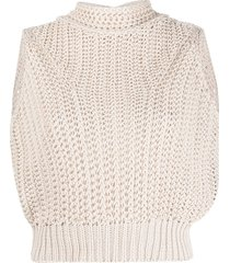 forte forte chunky knit cropped top - neutrals