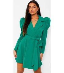 getailleerde blazer jurk met geplooide mouwen, emerald