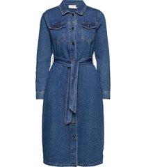 kakeisha denim dress knälång klänning blå kaffe