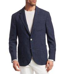 textured solid three patch pocket silk, wool & linen jacket