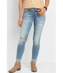 maurices womens denimflex™ light wash destructed cuff jegging blue