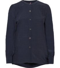 button down relaxed blouse ls blus långärmad blå tommy hilfiger