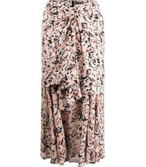 proenza schouler abstract animal print layered skirt - coral/black