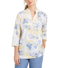 charter club petite cotton embroidered printed voile tunic, created for macy's