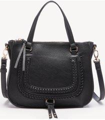 women's destin crossbody bag 2 vegan studded whipstich black vegan leather from sole society