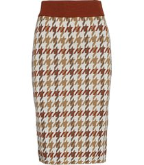 d1. checked knitted skirt knälång kjol multi/mönstrad gant