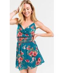 bev smocked floral mini dress - teal