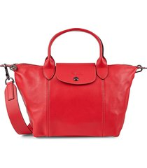 longchamp women's le pliage leather satchel - red