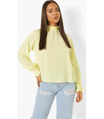 doorschijnende blouse met hoge hals, lemon