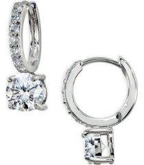 cubic zirconia huggie hoop earrings in sterling silver
