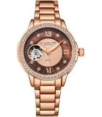 stuhrling women's rose gold stainless steel bracelet watch 36mm