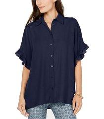 blouse ruffle sleeve button