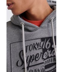 superdry men's brand language hooded sweatshirt