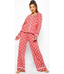 polka dot button through pyjama trouser set, rose