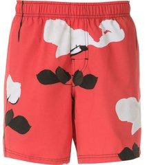 osklen beach glitch rose swim shorts - red