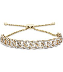 wrapped in love diamond chain link bolo bracelet (1 ct. t.w.) in 10k gold, created for macy's