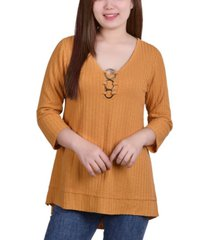 ny collection petite 3/4 sleeve ribbed tunic with rings