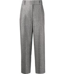 ermanno scervino checked sequin-embroidered trousers - white
