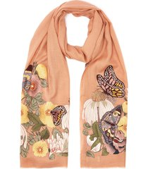 floral embroidered cashmere scarf