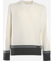 stone island wool blend sweater with contrasting logo print