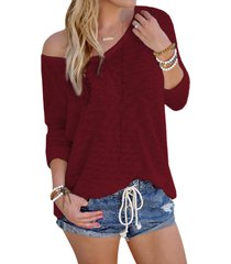 burgundy sexy v neck long sleeves knitted t-shirt