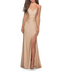 women's la femme cross back satin jersey trumpet gown