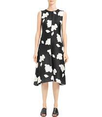 floral print silk fit & flare dress