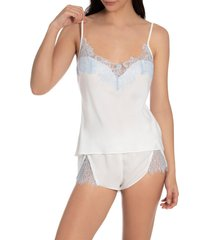 in bloom by jonquil lace trim satin camisole pajamas, size x-small in ivory at nordstrom