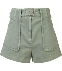 derek lam 10 crosby belted stretch chino short - green