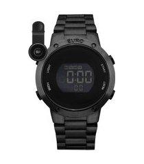 kit de relógio feminino euro digital - eubj3279abk4p + lentes preto
