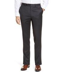 men's peter millar harker flat front solid stretch wool dress pants, size 34 - grey