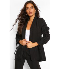 ruched sleeve longline blazer, black