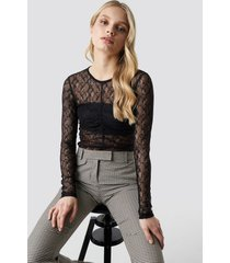 na-kd party long sleeve lace top - black