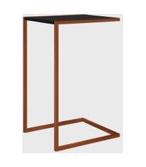 mesa lateral preto/cobre artesano