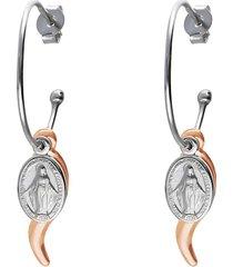 orecchini a cerchio in argento con cornetto dorato e madonnina pendenti per donna