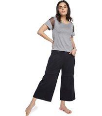 pijama feminino pantacourt com bolso mescla e preto - cinza/preto - feminino - viscose - dafiti