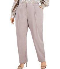 alfani plus size pleated slim-fit pants, created for macy's